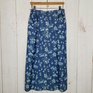 Vintage 90's Floral Jean Skirt Liz Claiborne - 12P